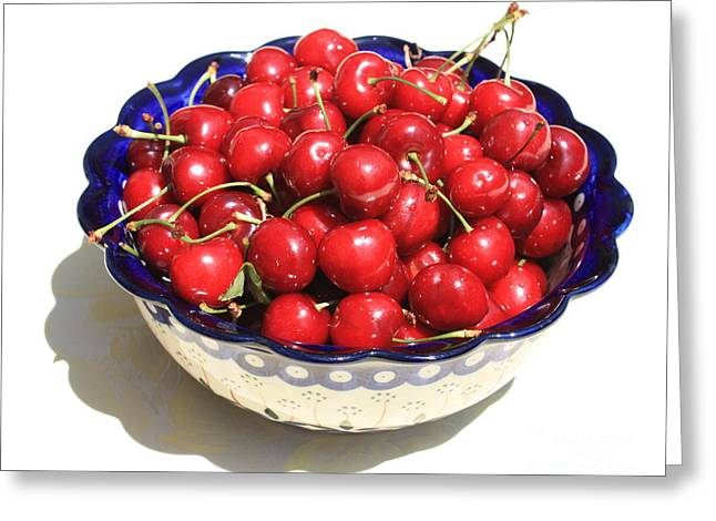 Grocery Store Greeting Cards - Simply a Bowl of Cherries Greeting Card by Carol Groenen