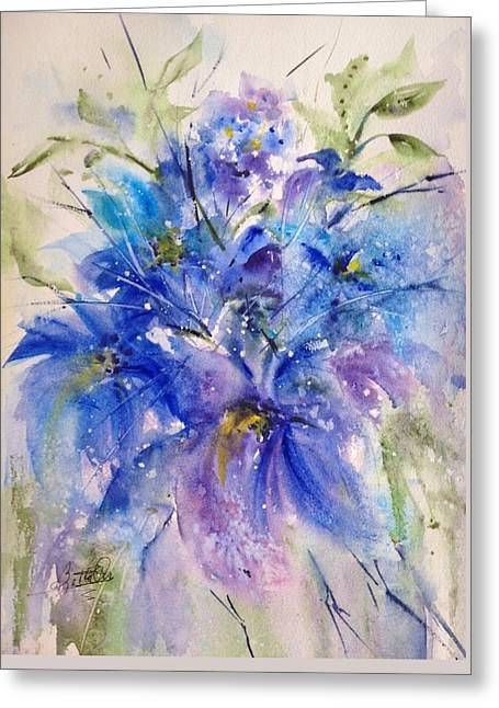 Simply Blue Greeting Card by Bette Orr