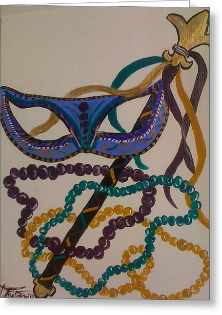 Simply Mardi Gras Greeting Card by Veronica Trotter