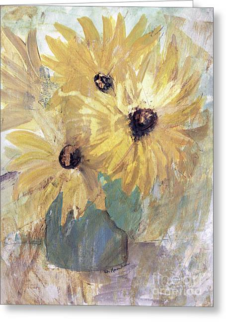 Greeting Card featuring the painting Simply Sunflowers  by Robin Maria Pedrero