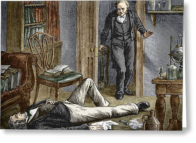 Simpson Researching Anaesthetics, 1840s Greeting Card