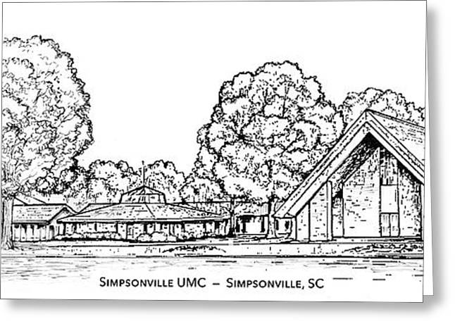 Simpsonville Umc Greeting Card by Greg Joens