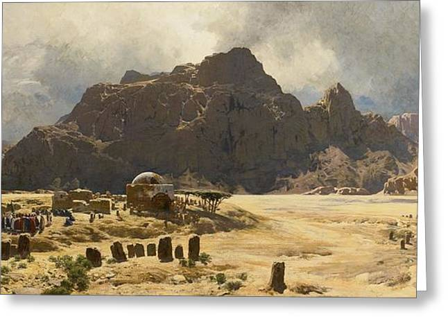 Sinai Landscape With The Mountain Jebel El-deir Greeting Card by MotionAge Designs