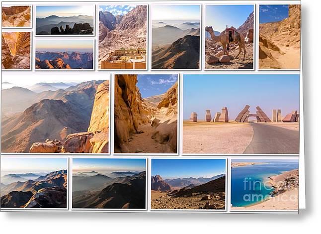 Sinai Peninsula Landmark Collage Greeting Card by Benny Marty