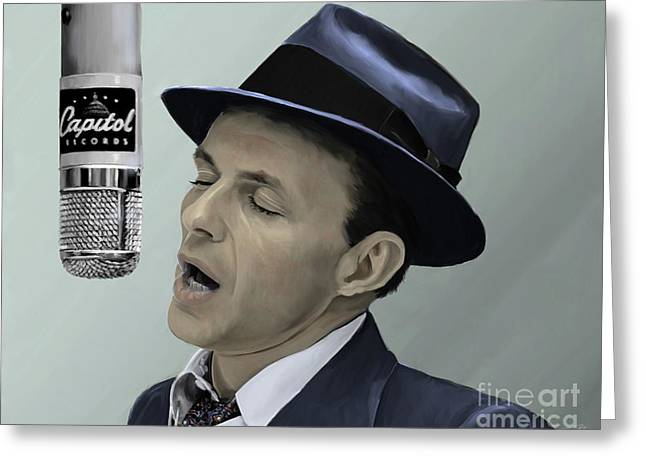 Sinatra - Color Greeting Card by Paul Tagliamonte