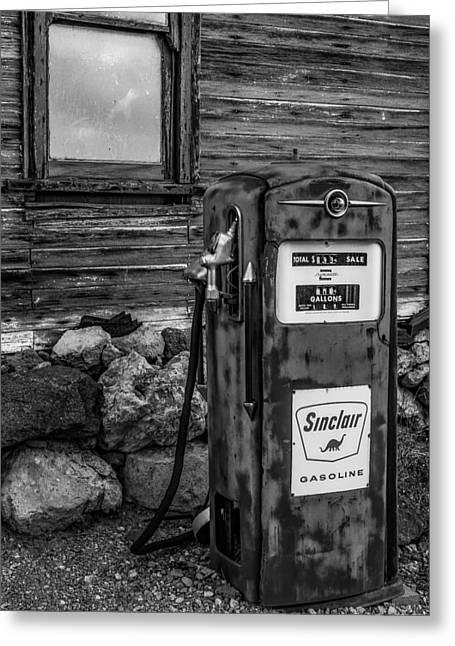 Sinclair Gas Pump Bw Greeting Card by Susan Candelario