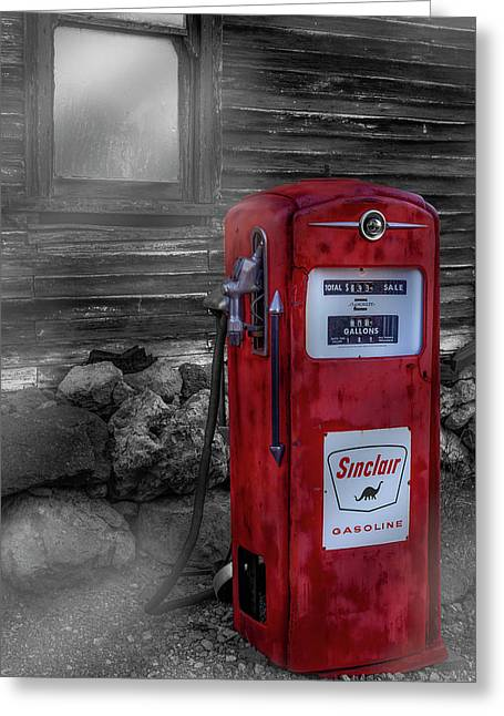 Greeting Card featuring the photograph Sinclair Gas Pump Sc by Susan Candelario