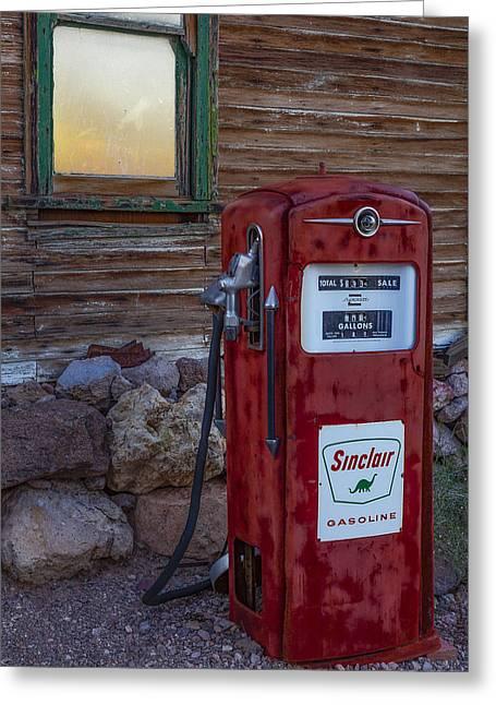 Sinclair Gas Pump Greeting Card by Susan Candelario