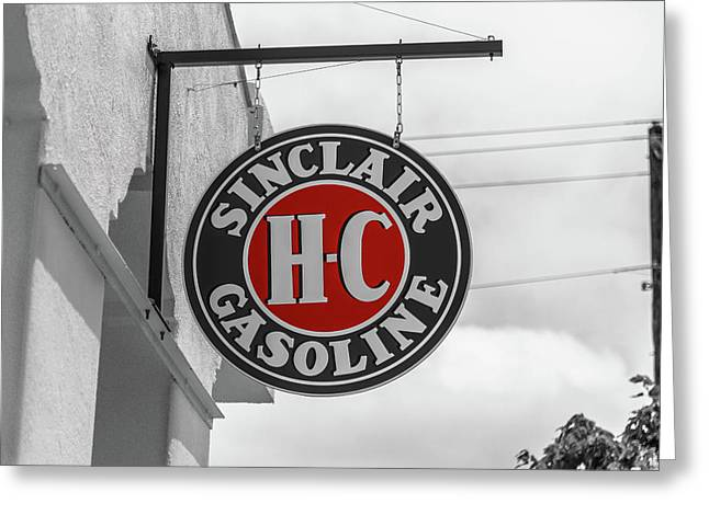 Sinclair Gasoline Round Sign In Selective Color Greeting Card