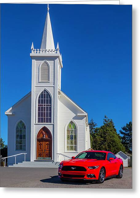 Sinful Red Mustang Greeting Card by Garry Gay