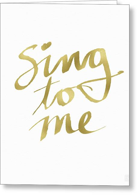 Sing To Me Gold- Art By Linda Woods Greeting Card by Linda Woods