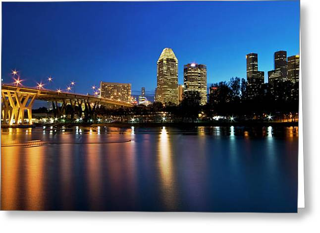 Greeting Card featuring the photograph Singapore - Blue Hour by Ng Hock How