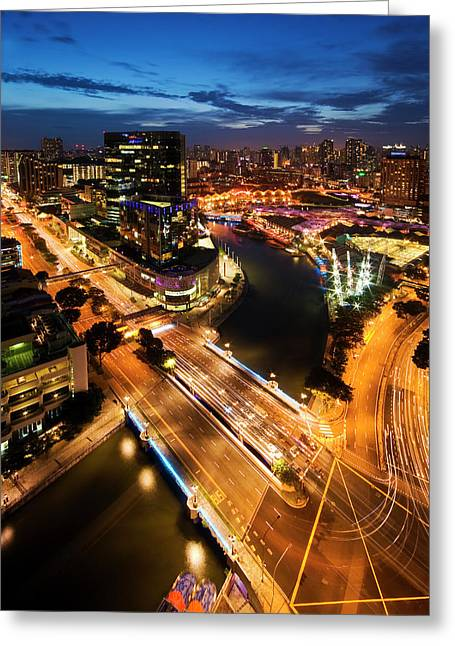Greeting Card featuring the photograph Singapore - Clarke Quay by Ng Hock How