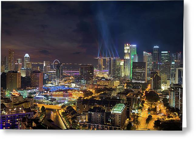 Singapore City Lights Greeting Card by David Gn