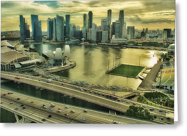Singapore City On The Move Greeting Card by Paul W Sharpe Aka Wizard of Wonders