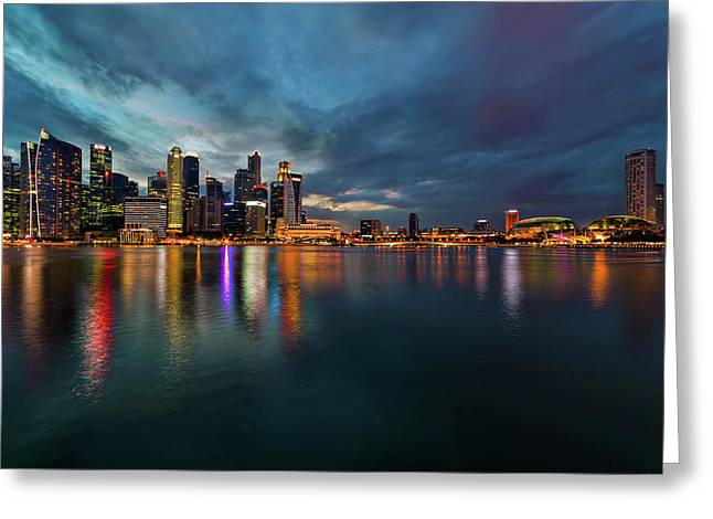 Singapore City Skyline At Evening Twilight Greeting Card by David Gn