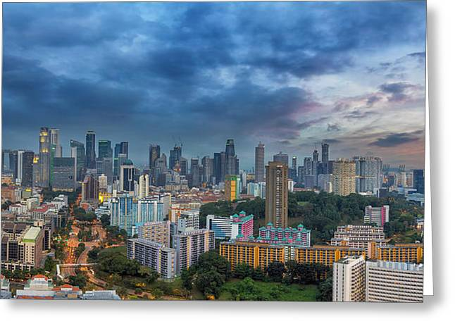 Singapore Cityscape At Sunset Greeting Card by David Gn