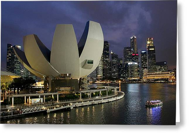 Singapore Harbor Greeting Card by Diane Height