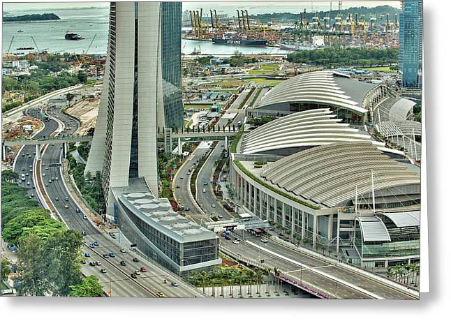 Fullerton Greeting Cards - Singapore Marina Bay Sands Greeting Card by Paul W Sharpe Aka Wizard of Wonders