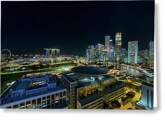 Singapore Modern Skyline By The River At Night Greeting Card by David Gn