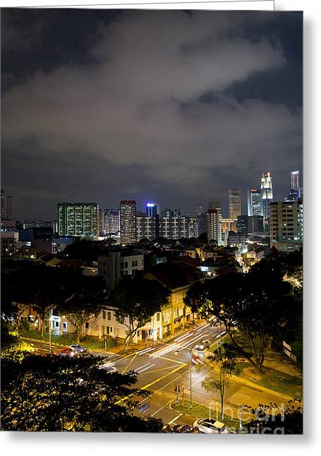 Singapore Night Photo Greeting Card by Ivy Ho