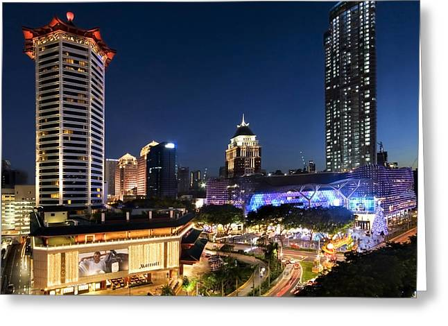 Greeting Card featuring the photograph Singapore Night View by Ng Hock How