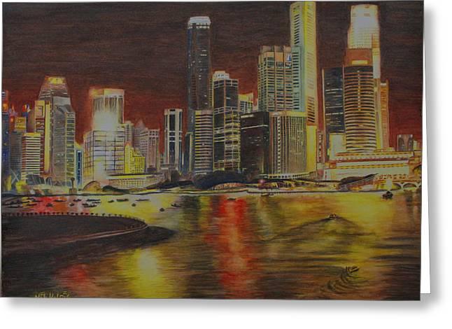 Singapore Nights Greeting Card by Nik Helbig