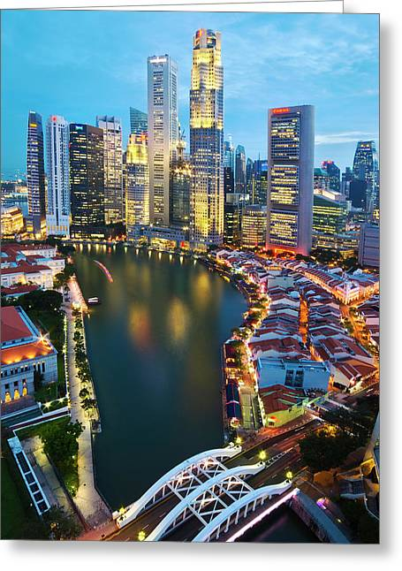 Greeting Card featuring the photograph Singapore River by Ng Hock How