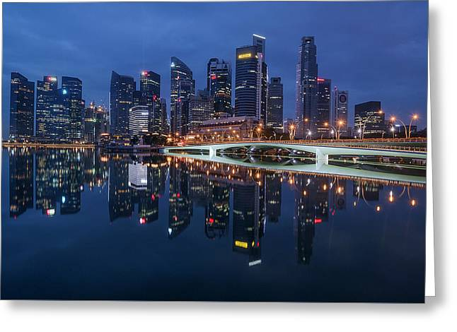 Singapore Skyline Reflection Greeting Card
