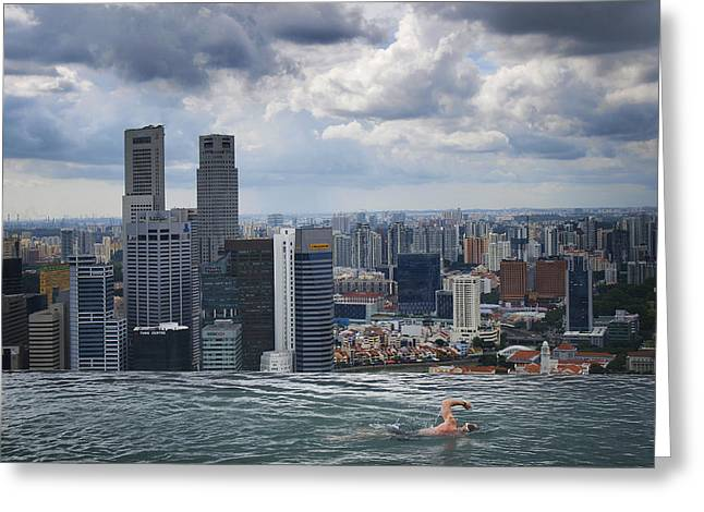 Papiorek Greeting Cards - Singapore Swimmer Greeting Card by Nina Papiorek
