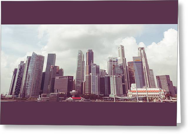 Greeting Card featuring the photograph Singaport Cityscape The Second by Joseph Westrupp