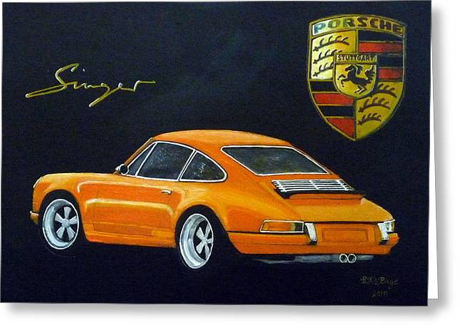 Greeting Card featuring the painting Singer Porsche by Richard Le Page