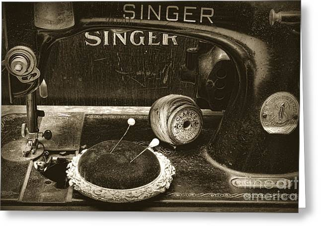 Singer Sewing Machine And A Victorian Pin Cushion Greeting Card by Paul Ward