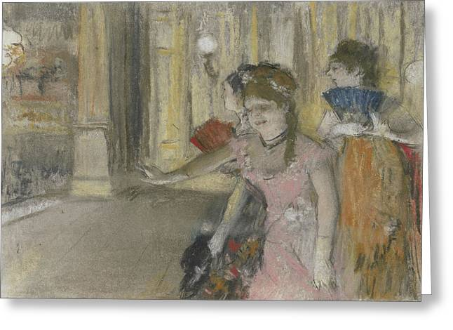 Singers On The Stage Greeting Card by Edgar Degas