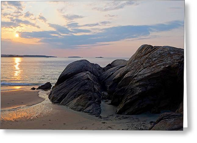 Singing Beach Rocky Sunrise Manchester By The Sea Ma Greeting Card