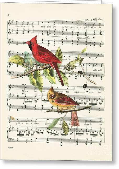 Singing Cardinals Greeting Card