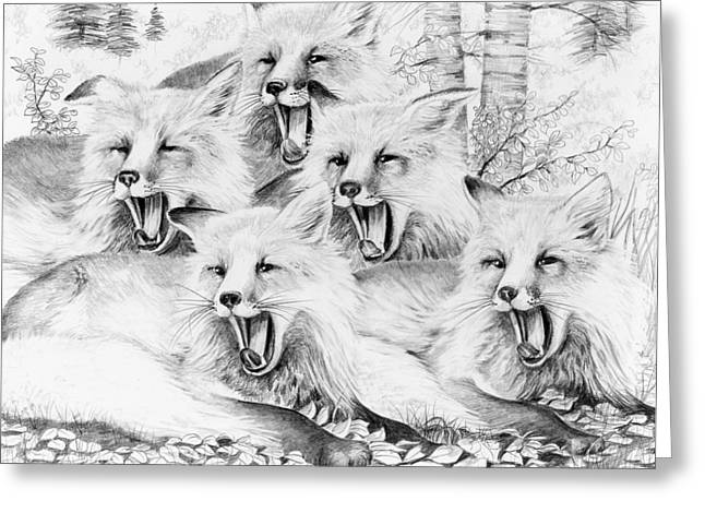Singing Foxes Greeting Card by Bob Patterson