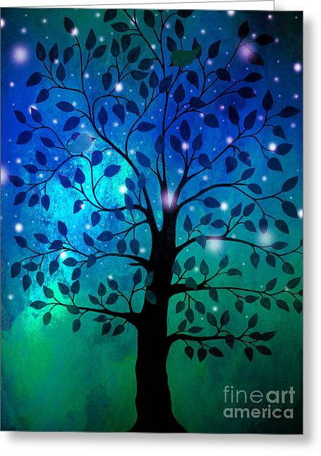 Singing In The Aurora Tree Greeting Card by Cheryl Rose