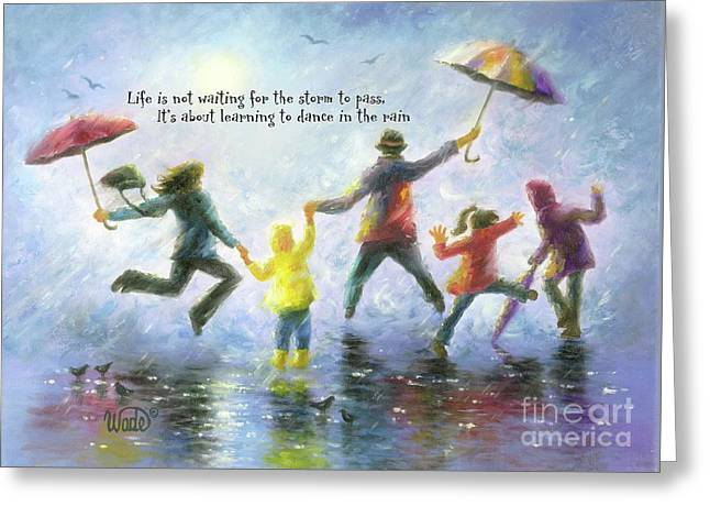 Singing In The Rain Family Greeting Card by Vickie Wade