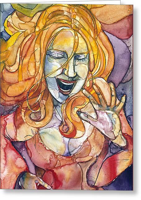 Singing Lady-orange Greeting Card