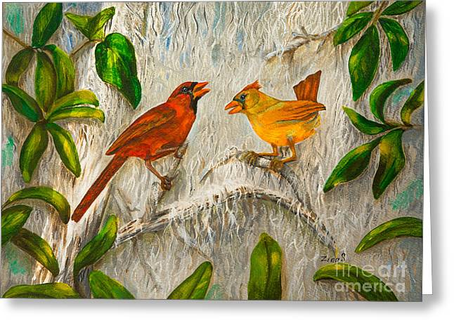 Singing Of Love Greeting Card by Zina Stromberg