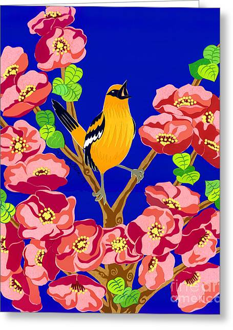 Singing Oriole Greeting Card by Lucyna A M Green