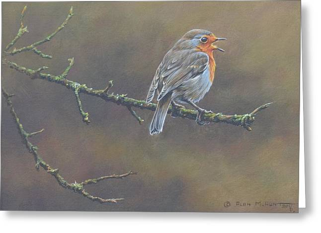 Greeting Card featuring the painting Singing Robin by Alan M Hunt