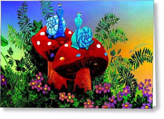 Singing Snail Greeting Card by Hanne Lore Koehler