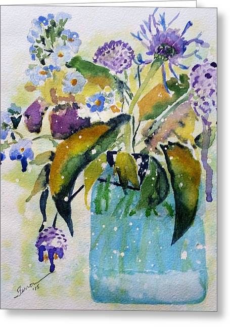 Greeting Card featuring the painting Singing The Blues by Patti Ferron