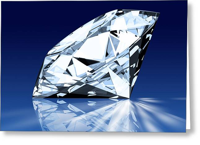 Crystals Greeting Cards - Single Blue Diamond Greeting Card by Setsiri Silapasuwanchai