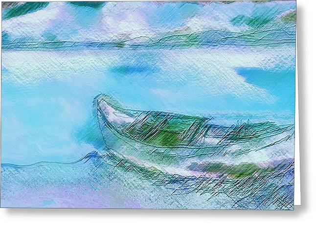 Single Boat On Shore Greeting Card by Mimo Krouzian
