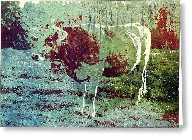 Single Cow Greeting Card by Jutta Maria Pusl