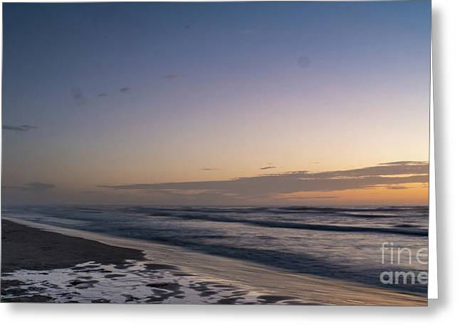 Single Man Walking On Beach With Sunset In The Background Greeting Card