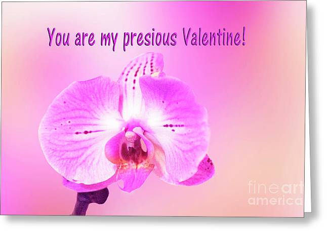 Greeting Card featuring the photograph Single Orchid Valentine by Linda Phelps